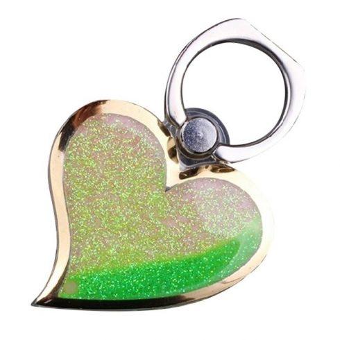Decoratiune telefon mobil Heart, suport inclus, verde