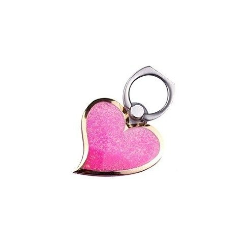 Decoratiune telefon mobil Heart, suport inclus, roz
