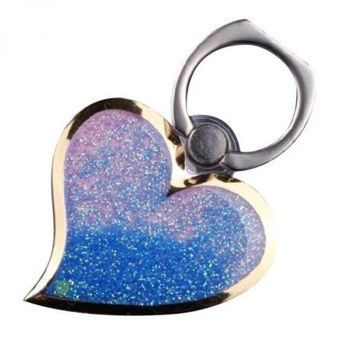 Decoratiune telefon mobil Heart, suport inclus, albastra
