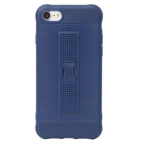 Capac de protectie pentru iPhone 7 Plus / 8 Plus, silicon moale cu perforatii si curelusa sustinere telefon, albastru