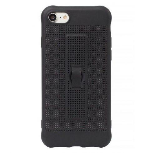 Capac de protectie pentru iPhone 6 / 6S, silicon moale cu perforatii si curelusa sustinere telefon, negru